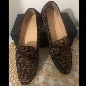 J Crew Academy leopard calf hair loafers